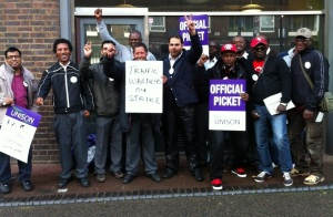 NSL workers picket the Crowndale Road base, July 11, 2012