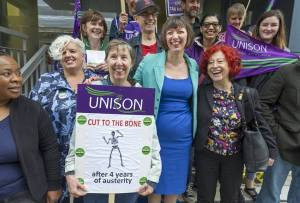 Bidborough House picket with Frances O' Grady 10 July 2014