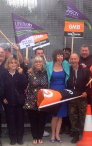 York Way picket with Frances O'Grady  UNISON and GMB   10 July 2014
