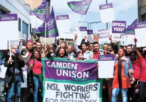 NSL workers on strike in 2012. Photo from Camden New Journal